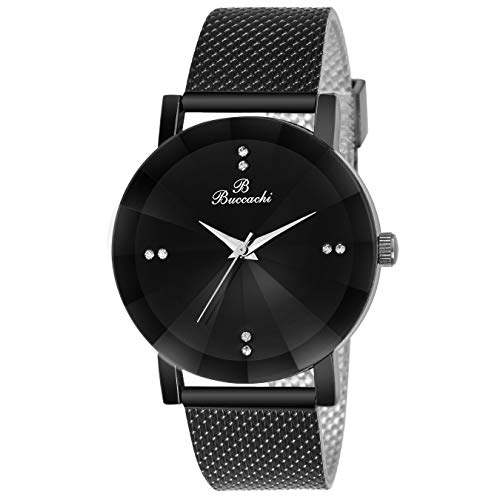 Buccachi Analogue Black Round Dial Watch for Men\'s (B-G5045-BK-BK)