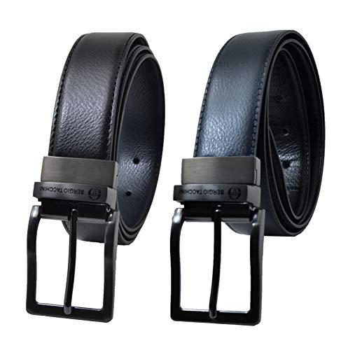 Sergio tacchini cintura reversibile uomo nero e blu in vera pelle, fibbia rettangolare, regolabile e accorciabile, taglia 120