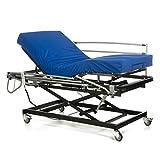 Gerialife Cama articulada geriátrica hospitalaria con Carro Elevador | Colchón Sanitario viscoelástico | Barandillas abatibles (105x190)