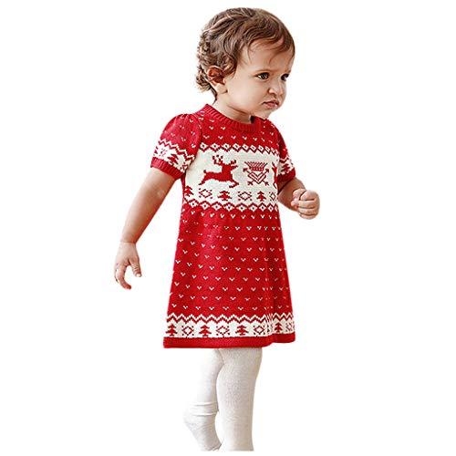 Zegeey MäDchen Kinder Baby Pullover Kleid Mit Tier Cartoon Druck Party Weihnachts KostüM Festliche Geschenk Weihnachtspullover(rot,70-80)