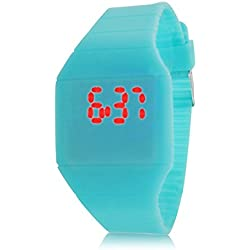 GSPStyle Digital LED Touch Screen Design Wrist Watch Bracelet Silicone Band Strap - Turquoise