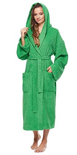 Arus - Albornoz-Astra de Mujer, 100% algodón, Medio Tiempo, con Capucha (Small/Medium, Verde)