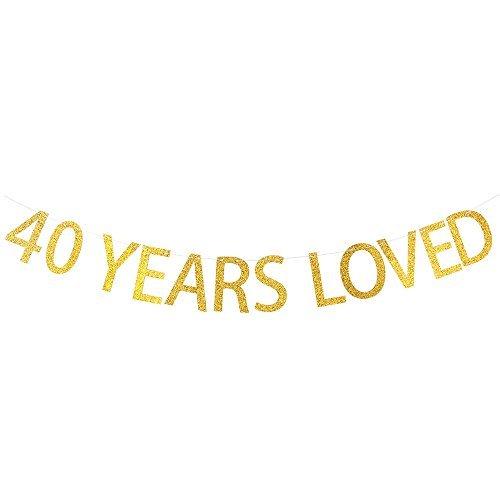 d Glitzer Banner für 40. Geburtstag, Hochzeit, Anniversary Party Wimpelkette Foto Requisiten Dekorationen ()