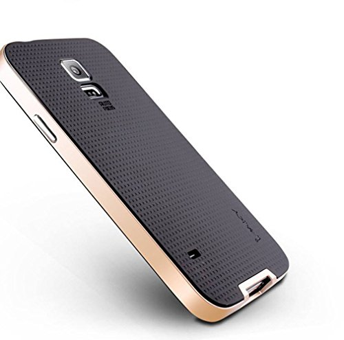 iPaky Hybrid Ultra Thin Shockproof Back + Bumper Case Cover for Samsung Galaxy S5 - Gold