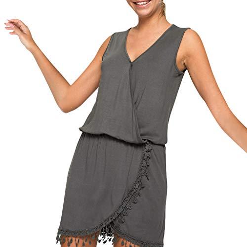 Kleider Sommer,Kleid Damen Elegant Frauen Casual Quaste Kleid Ärmellose V-Ausschnitt Party Rock Solid Mantel Party Hochzeitsgast Kleid Von Evansamp(Grau,XL) -