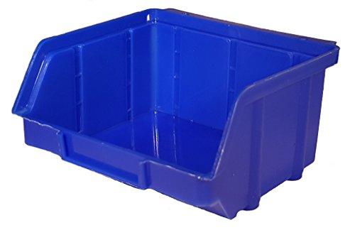 60 Stück Stapelboxen blau Gr.1 (102x96x52mm) Kunststoff PP Sichtlagerkästen Stapelkästen mit Aufhängevorrichtung