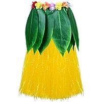 Amosfun Falda de Hula de Hoja de Ti Traje Hawaiano Playa Luau Favores de la Fiesta de Hawaii Suministros para Fiestas Tropicales