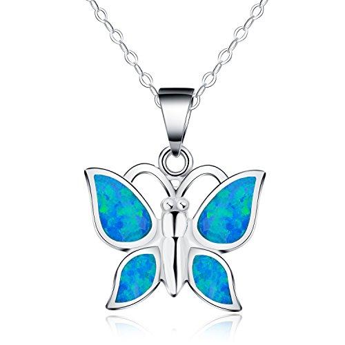 In argento Sterling 925, Opale sintetici blu Collana con ciondolo a forma di farfalla