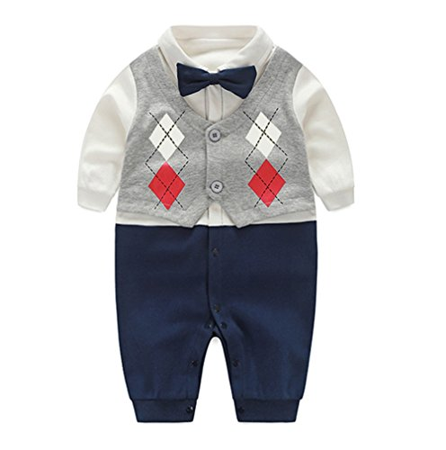 Fairy Baby Boy's Gentleman Romper Newborn Outfit with Bow Tie,9-12M,Two Layered Grid