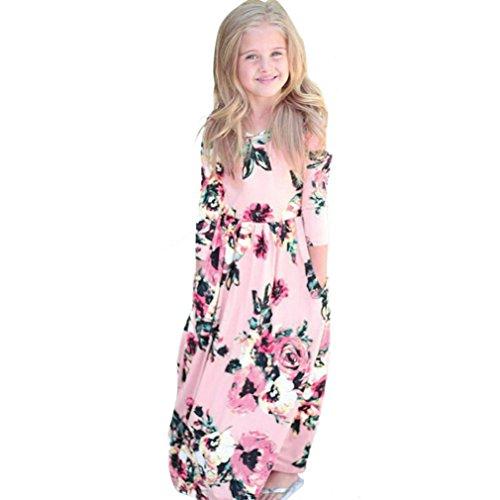 d URSING Kinderkleidung Einzigartig Übergang Tüllkleid Langarm Abendkleider Kindermode Mädchenröcke Outfits Kleidung chic Mädchenkleider drucken charmant Trägerkleid (pink, 80) (Einzigartige Outfit-ideen)