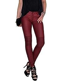 1380f912012b DB Damen Stretch Kunstleder Hose mit Lamellen im Kniebereich in schwarz und  rot