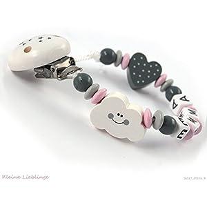 Schnullerkette mit Namen Mädchen - Wolke Herz - rosa grau weiß - Baby Geschenk Holz - Silikonring