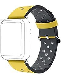 Apple Watch Correa,Culater Correa de Repuesto de Cuero de Primera Calidad para Apple Watch 42mm (Amarillo)