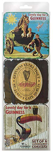 Nostalgisches 6er-Set Untersetzer mit berühmten Guinness-Bildern und -Symbolen - Guinness-bier Etikett