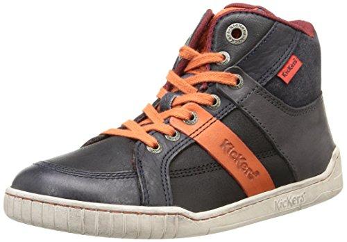 Kickers Wincut, Sneakers Hautes garçon Noir (Noir/Orange)