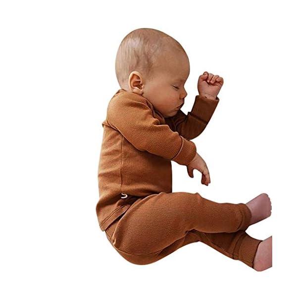 MAYOGO Ropa para bebés Conjunto, Tops Camiseta Manga Largo + Pantalones Largos Color sólido Ropa Bebe Recien Nacido… 3
