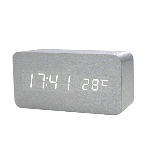 Hmjunboys Digital Wecker Holz LED Digitaluhr Modern Wohnzimmer Tischuhr Anzeige Uhrzeit/Datum / Temperatur, 3 Einstellbare Helligkeit, 3 Weckzeiten, Sprachsteuerung (Silber Weiss)