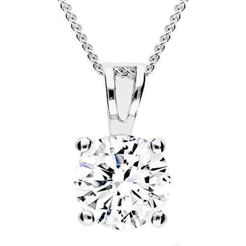 MYA art Damen Kette Halskette 925 Silber Rhodiniert mit rundem weißem Zirkonia Solitär Stein Strass Anhänger Weiß MYASIKET-12