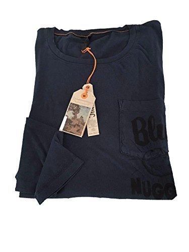 nudie-jeans-t-shirt-pour-homme-avec-poche-et-impression-manche-longue-bleu-100-coton-bleu-x-large