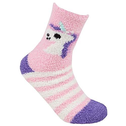 Style It Up Calcetines de forro polar suave y acogedores, para mujer, para la cama, para el salón UNICORN 4-7/37-42 Morado 1 Pairs Pastel Unicorn 37-42