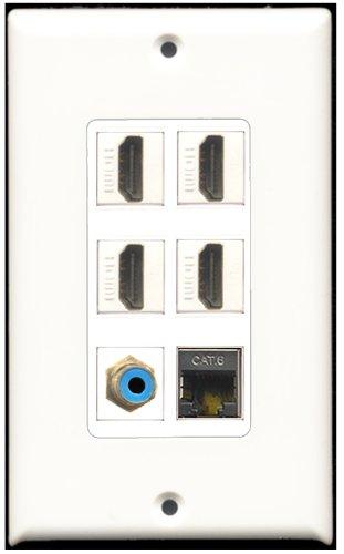 RiteAV-4Port HDMI 1RCA Blau 1geschirmt CAT6Ethernet Wall Plate Dekorative 6 Port Flush