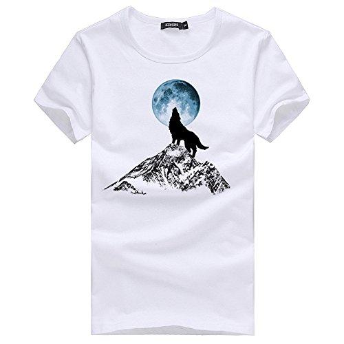 Kurzarm T-Shirt Männer reine Baumwolle Crew-neck, White Serie L (Baumwolle T-shirt Reine Crewneck)