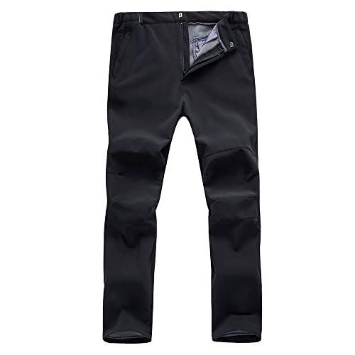 413AA26zLiL. SS500  - Jessie Kidden Mens Waterproof Trousers Winter Casual Soft Shell Fleece Lined Snow Ski Hiking Work Walking Pants