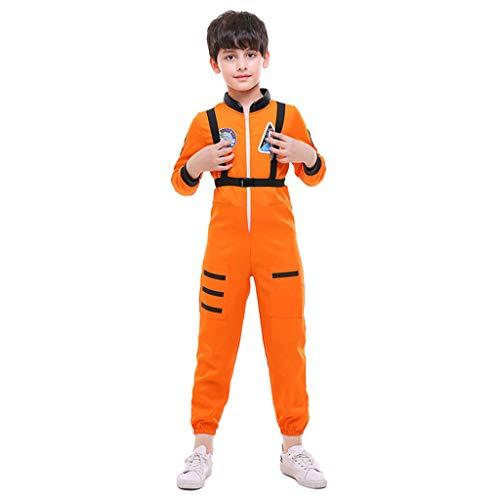 D DOLITY Kinder Astronaut Kostüm Verkleiden Sich Rollenspiel Kostüm Set, Orange - M