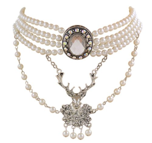 Edel Trachtenschmuck Perlen Kristall Kropfkette weiß Perlenschimmer mit Hirsch-Anhänger Kristall