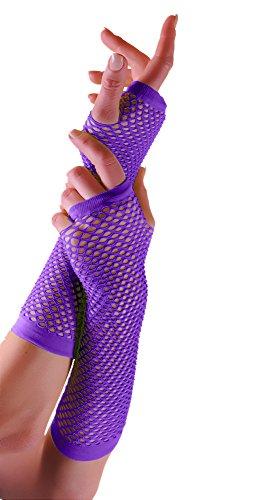 Erwachsene kurze und lange Fingerlose Fisnet Handschuhe Raves Parties 1980s Fancy Dress - Pick & Mix (Lila - ()