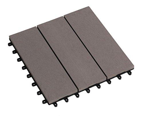 tdock sol Florco WPC terrasse, carrelage, 30 x 30 cm, 1er choix, gris clair