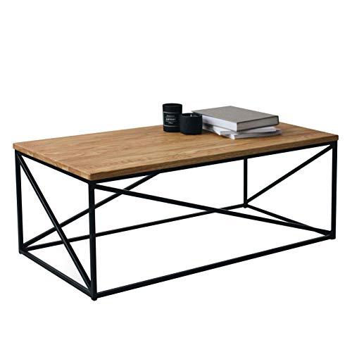 Original-BestLoft® 1 Couchtisch Orlando (110-SH) Beistelltisch Industriedesign Loft LxBxH: 110x55x43 (Eiche Natur + Gestell in schwarz)