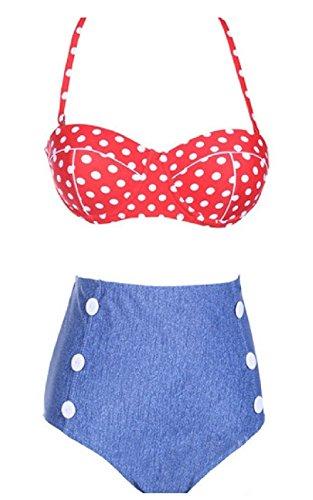 Ghope Damen Bikini-Sets Retro High Waist Bademode Badeanzug Stil E