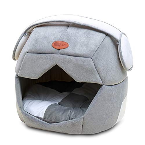 ndet Faltbare Weiche Warme Raum Helm Pet Cat Dog Bett Für Hunde Cave Puppy Schlafmatte Pad Nest Decke Für Katzen Haus (Color : Grey, Size : 49x43cm) ()