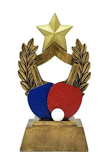 Decade Awards Ping Pong Trophäe, Bunte Paddles Tischtennis-Auszeichnung, 16,5 cm hoch - kostenlose Gravurplatte auf Anfrage