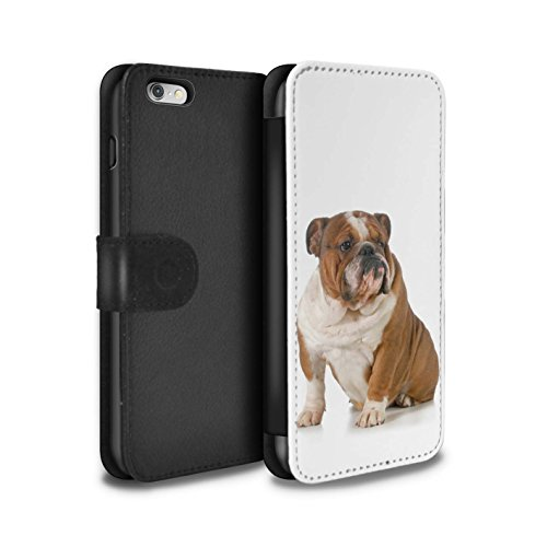 STUFF4 PU-Leder Hülle/Case/Tasche/Cover für Apple iPhone 8 / Bull Terrier Muster / Hund/Hunde Kollektion Bulldogge