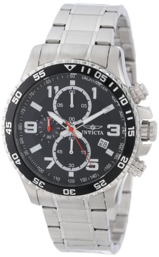 Invicta Men's Quartz Watch with Black Dial Chronograph Display and Silver Stainless Steel Bracelet 14875