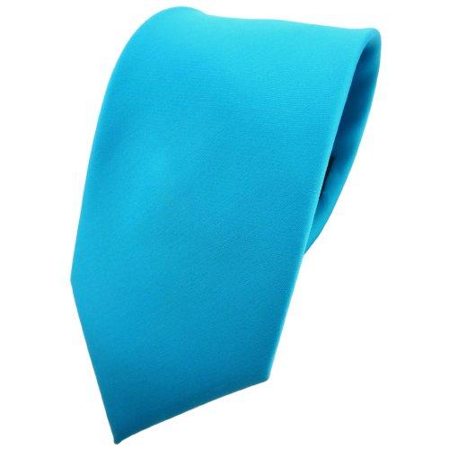 TigerTie Krawatte in türkis türkisblau wasserblau einfarbig - 100% Polyester - Tie Binder