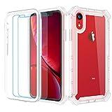 Garegce Coque iPhone XR, Silicone Transparent avec [2 x Verre Trempé], Housse TPU+PC [360 degrés Protection] Antichoc, Anti-Chute Armure Double Bumper Protection for iPhone XR- 6.1' - Transparent