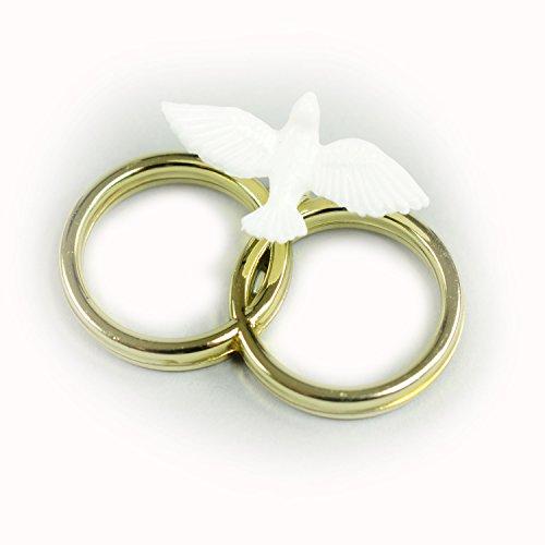 Täubchen weiß auf goldfarbenem Ringpaar 3,8 cm