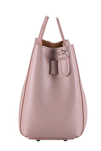 BORDERLINE - 100% Made in Italy - Starre Tasche Frau aus echtem Leder - LIDIA Puder