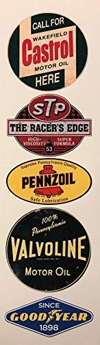 #300/Vintage Öl Aufkleber Set 5x - Breite je Sticker ca. 6,5cm/Castrol STP Good Year Pennzoil Valvoline Oldtimer Hot Rod Retro