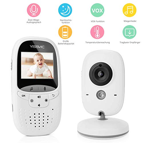 Yissvic Babyphone 2.4GHz mit Kamera Wireless Video Baby Monitor Nachtsicht Gegensprechfunktion Temperatursensor 2.0 Zoll LCD