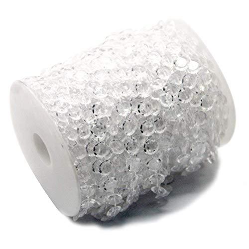 Ewparts 30M Kristall Girlande Diamant Acrylkorne Korn Schnur chandlier Korne, für Strand hängende Vorhang Tropfen Ausgangs Dekoration (Transparent)