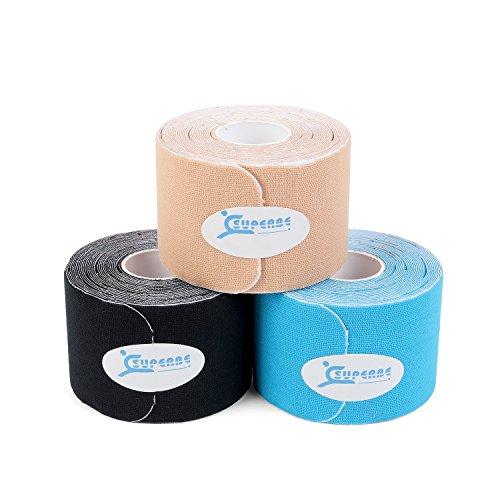Superbe Nastro Kinesiologico Pre-tagliato (Confezione da 3), Nastro Elastico Terapeutico per Sollievo dal Dolore, Supporto muscolare, Recupero e Fisioterapia, Traspirante, Resistente all'Acqua, 5cm x 5m (beige,nero,blu)