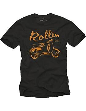 Scooter Roller T-Shirt für Herren schwarz - ROLLIN 60`s - Größe S-XXXL