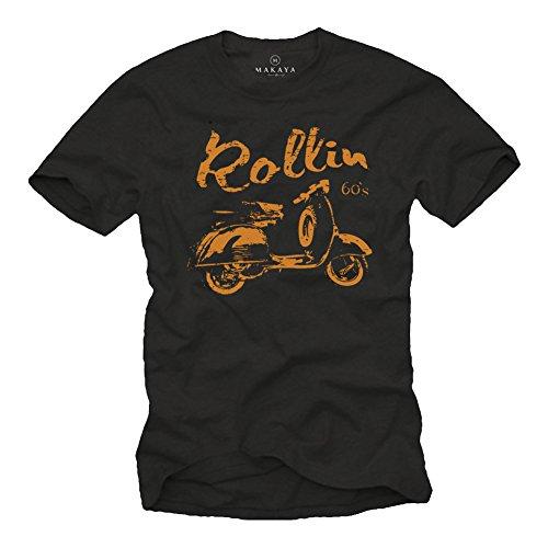 Camiseta Negra con Manga Corta para Hombre - Scooter Rollin 60s Talla L