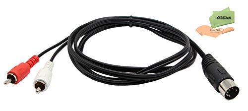 DIN 5broches câble Midi, Cerrxian DIN 1,5m DIN 5broches mâle vers 2RCA mâle câble audio de qualité professionnelle pour Bang & Olufsen, Naim, Quad... systèmes stéréo