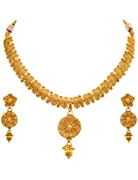 Jfl - Jewellery For Less Traditional Ethnic One Gram Gold Plated Spiral Designer Necklace Set With Earrings For...