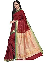 Craftsvilla Women's Silk Blend Zari Woven Traditional Maroon Saree With Unstitched Blouse Piece